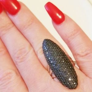NWT GENUINE BLACK SPINEL OVAL SS RING